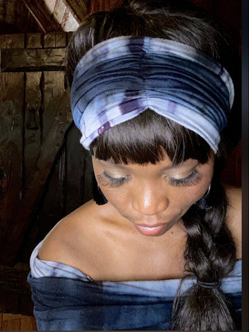 Blue TYE - Dye Short Vintage Headband