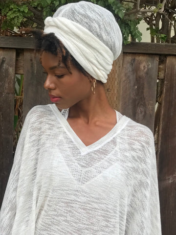 Kundalini  White Crochet Turban Scarf (Yoga Journal)