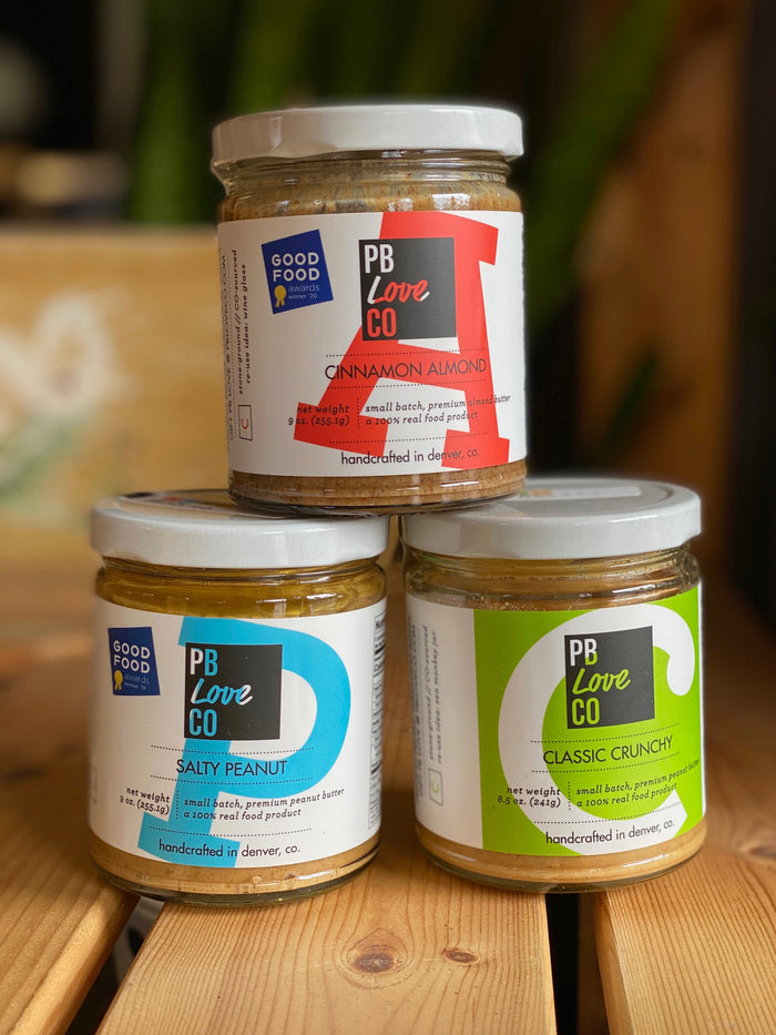 PB Love Hand-Crafted Stone-Ground Nut Butters, Cinnamon Almond, Salty Peanut, Classic Crunchy, Good Food Awards Winner Luxury Picnic Supplies