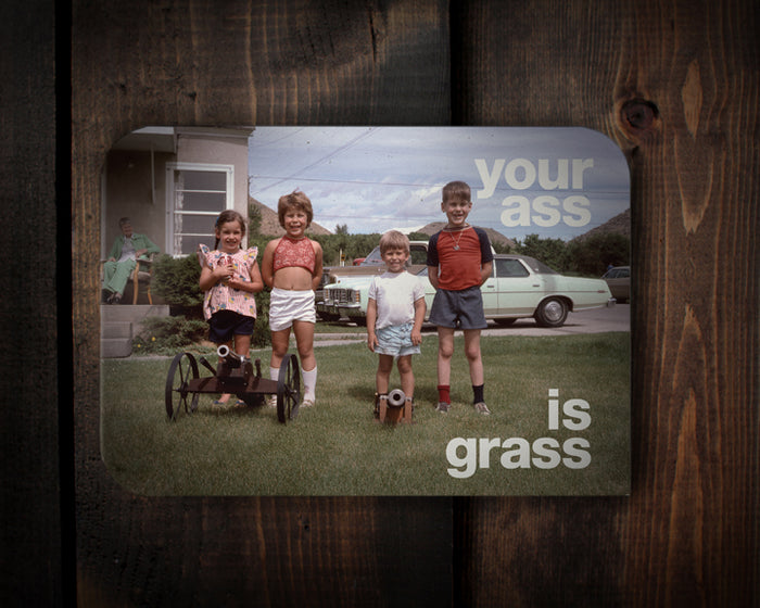RedCamper Retro Greeting Card 1960's slide photo of 4 kids in suburban yard with mini cannon - text says your ass is grass