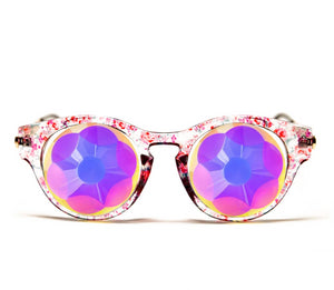 Floral Cat Eye Kaleidoscope Glasses – Sacred – Flat Back