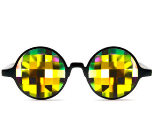 Black Kaleidoscope Glasses – Rainbow Bug Eye – Flat Back