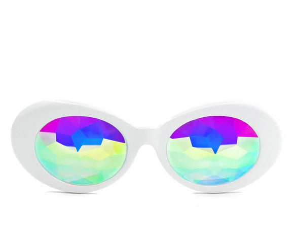 Clout Kaleidoscope Glasses – White