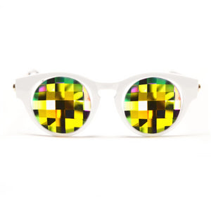 White Cat Eye Kaleidoscope Glasses – Rainbow Bug Eye