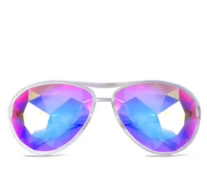 Aviator Style Kaleidoscope Glasses – Clear