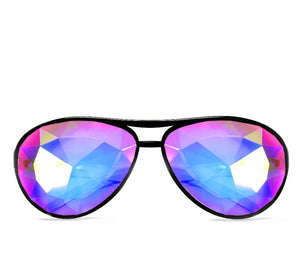 Aviator Style Kaleidoscope Glasses – Black