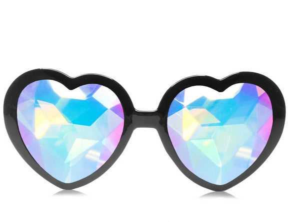 Heart Shaped Kaleidoscope Glasses – Black