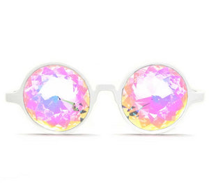 White Kaleidoscope Glasses- Rainbow