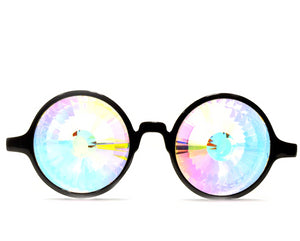 Black Kaleidoscope Glasses- Rainbow Wormhole