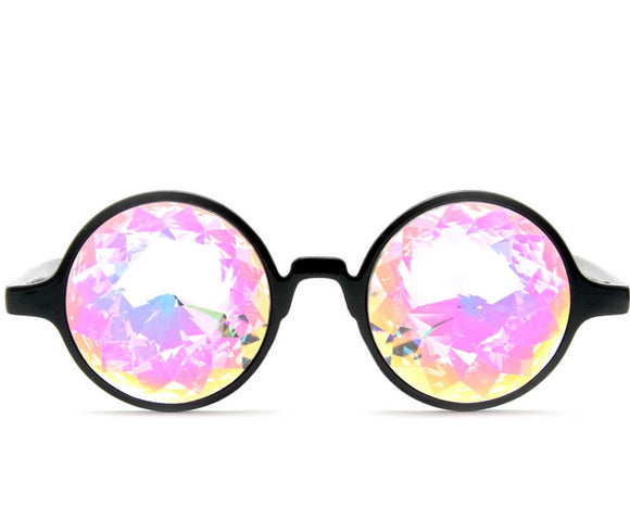 Black Kaleidoscope Glasses – Rainbow