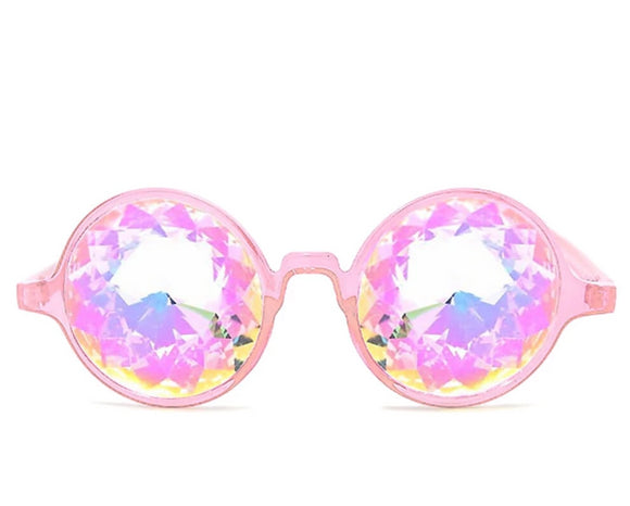 Transparent Pink Kaleidoscope Glasses – Rainbow