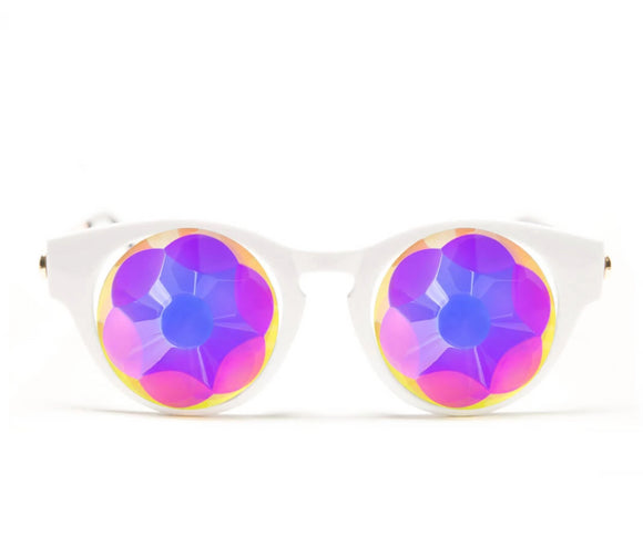 White Cat Eye Kaleidoscope Glasses – Sacred – Flat Back