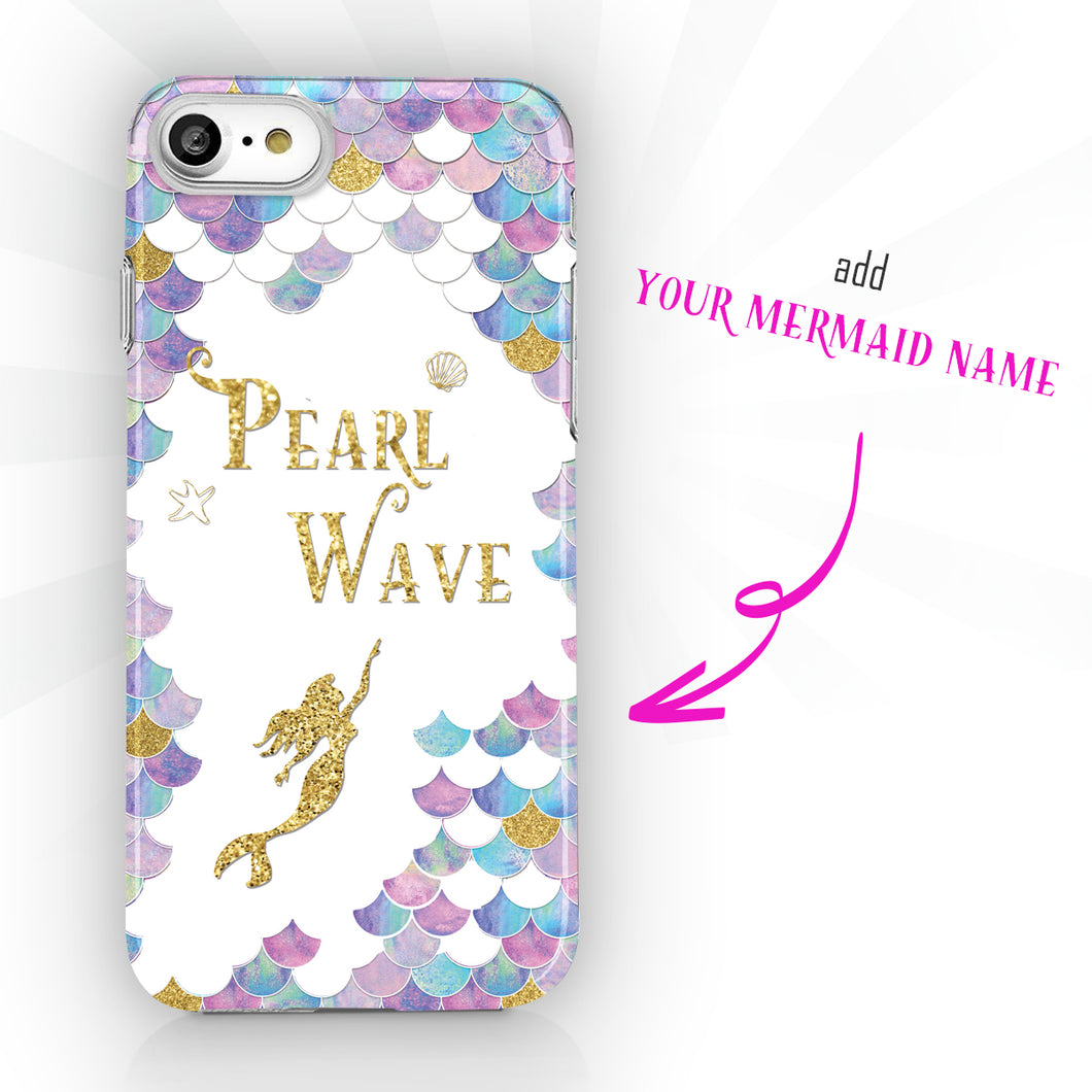 Personalized Mermaid Name Phone Case - Golden