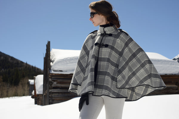 Military Cape in Grey Plaid