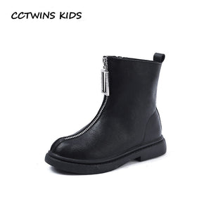 CCTWINS KIDS 2018 Winter Children Pu Leather Shoe Baby Girl Brand Ankle Boot  Toddler Brand Warm Boot Black CF1649 a127eed266cb