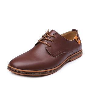 92710a78b5147 The new Men Casual Shoes PU Leather Lace-up Plus Size 38-48 Flat With Shoes  Men Oxfords Shoes