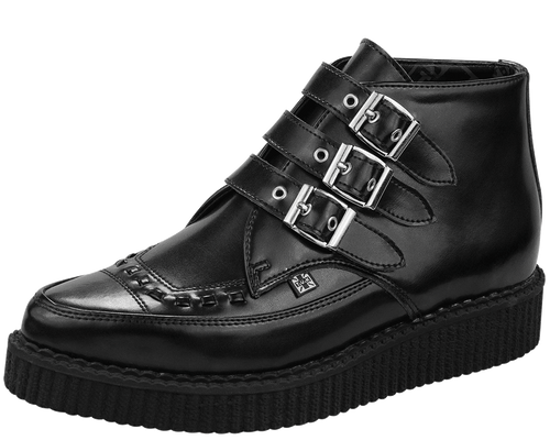 Black Leather Creeper Boots