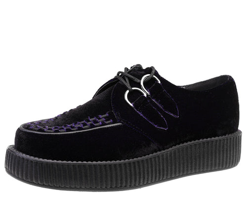 Dark Purple Velvet Viva Low Vegan Creepers