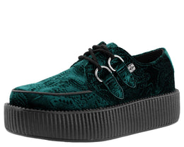 Emerald Green Embossed Velvet Viva Mondo Vegan Creepers
