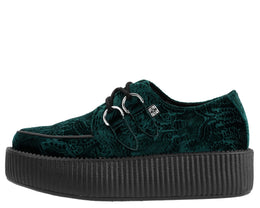 Emerald Green Embossed Velvet Viva Mondo Vegan Creepers View 2