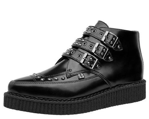 Black Leather Three Buckle Studs Pointed Boots