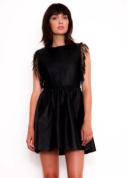 Black Magic Leather Fringed Dress View 2
