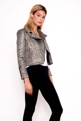 Hendrix Metallic Jacquard Biker Jacket View 2