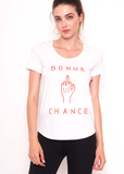 Bonne Chance Scoop Tee in White