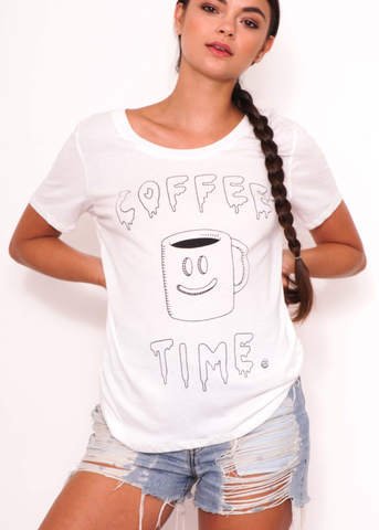 Coffee Time Boyfriend Tee in White