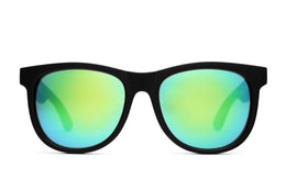 The Nudie Mag Sunglasses in Flat Black w/Reflective Green Lenses