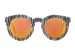 The TV Eye Sunglasses in Black Stripes w/Orange Lenses