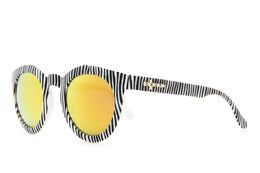The TV Eye Sunglasses in Black Stripes w/Orange Lenses View 2