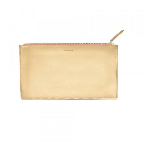 Day To Night Gold Leather Clutch