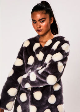 Bubbles Coat in Charcoal and Ivory View 2
