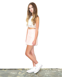 Pink Leather A-Line Skirt View 2