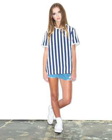 Woven Striped Tee