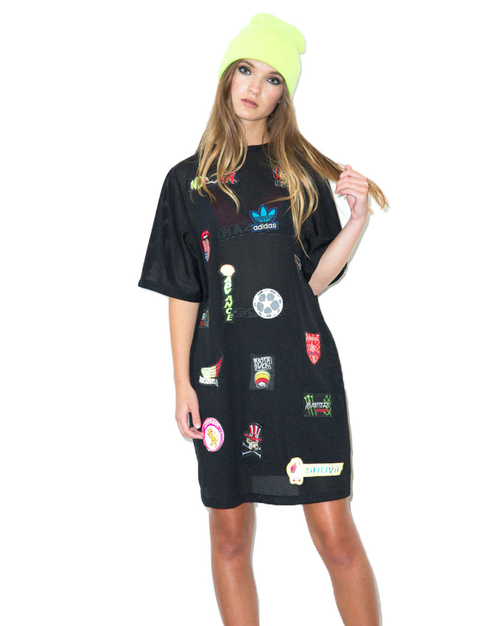 Patch Mesh T-Shirt Dress | NYLON SHOP