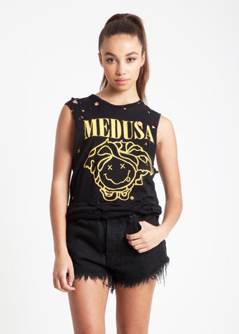 Medusa Destroyed Muscle Tee in Black
