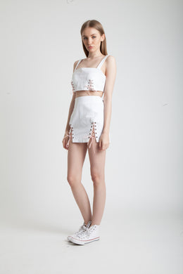 Lace up Denim Skirt in White View 2