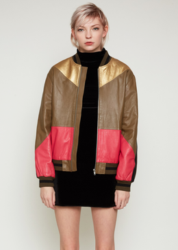 Prince Contrast Leather Patch Bomber