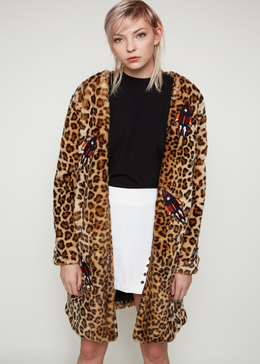 Edie Leopard Coat With Patches