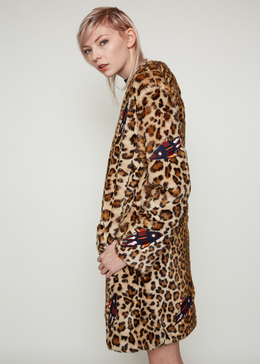 Edie Leopard Coat With Patches View 2