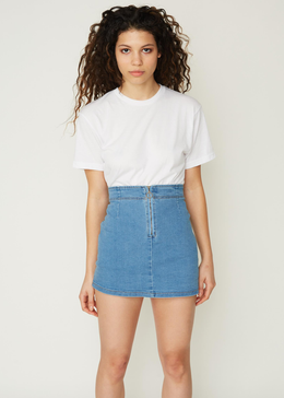 Megan Zip Front Denim Skirt