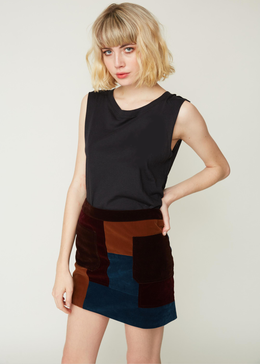 Carol Color Block Velvet Skirt View 2