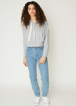 Happiness Cropped Sweatshirt in Grey