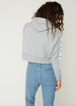 Happiness Cropped Sweatshirt in Grey View 2