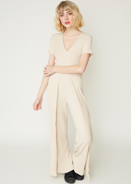 Short-sleeve Hakama Jumpsuit in Sand Knit
