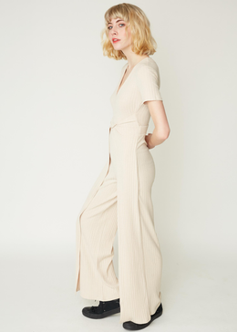 Short-sleeve Hakama Jumpsuit in Sand Knit View 2