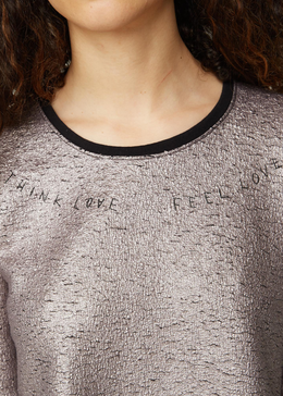 Metallic 'Think Love Feel Love' Top