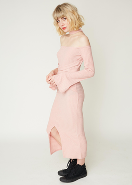 Deconstructed Collar Dress in Dusty Pink Knit View 2